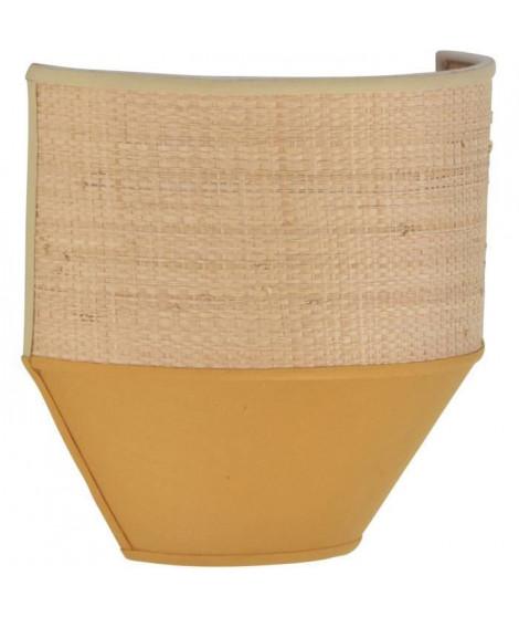 Applique - Coton et raphia naturel - H 20 x L 20,5 x 10 cm - Moutarde