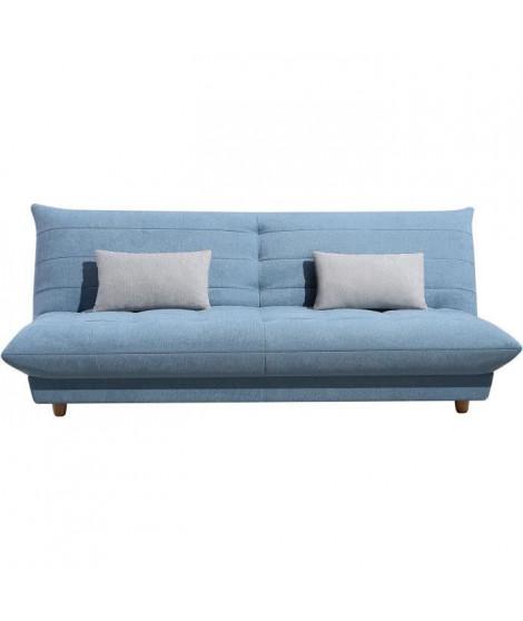 Banquette convertible - Tissu Bleu clair et coussin gris clair - L190 x P 99 x H 79cm - NEST