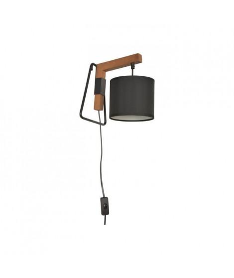 Applique trépied - Bois et métal peint - H 24 x L 17,5 x P 22 cm - Chene et noir
