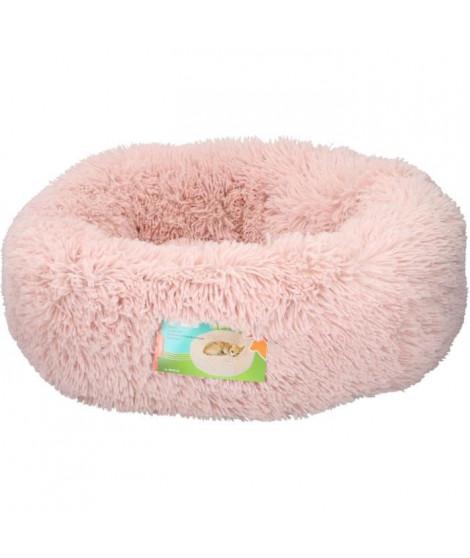 Panier rond en fourrure - rose - diametre 50cm