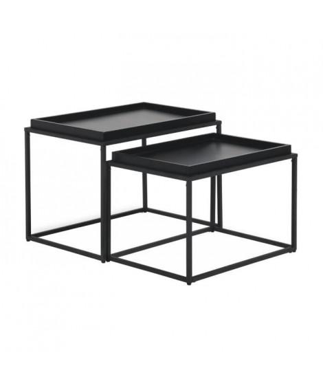 KENTIA Tables gigognes - Laqué et pieds en métal - L  55 x P 38 x H 38 cm