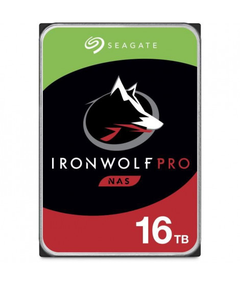 SEAGATE - Disque dur Interne - NAS IronWolf Pro - 16To - 7 200 tr/min - 3.5 (ST16000NE000)