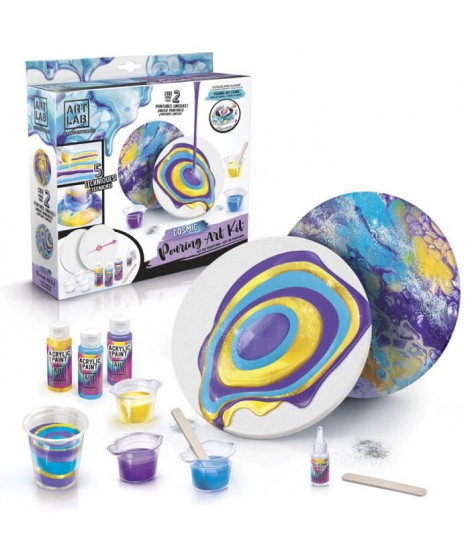 ART LAB Pouring Paint - Kit de Peinture theme Cosmic - Coffret pour enfant - Peinture acrylique