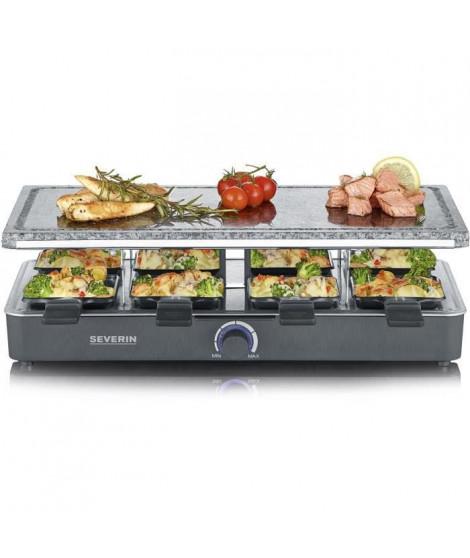 SEVERIN Raclette Gril 8 personnes avec pierre de cuisson naturelle, thermostat réglable, surface de cuisson 46 X 23 cm, RG 2372