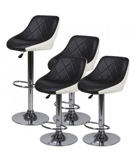 Lot de 4 tabourets de bar télescopique - Simili Noir et blanc - Pieds métal chromé - L 46 x P 35 x H 60 cm - TRIANON