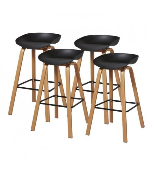 Lot de 4 tabourets - Noir - Pieds métal peinture bois - L 42 x P 38 x H 75 cm - ARIANA