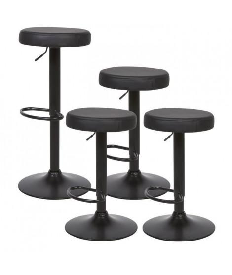 Lot de 4 tabourets ajustables - Simili  noir - Pieds métal chromé - L 36 x P 36 x H 60 cm - BARISTA