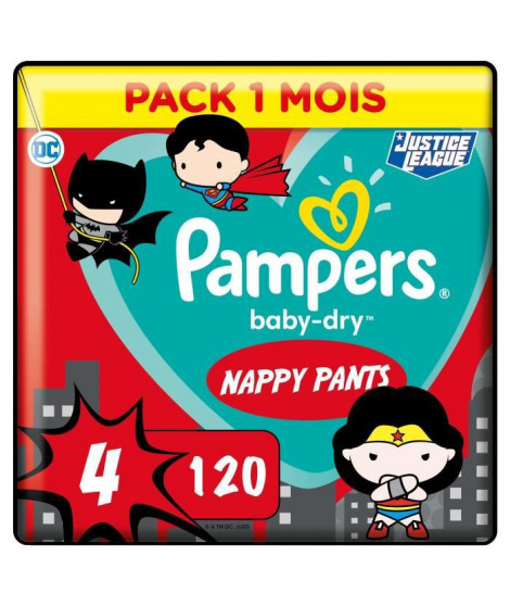 PAMPERS Couches-culottes Baby-Dry Pants Taille4 - 120culottes - Pack 1 Mois