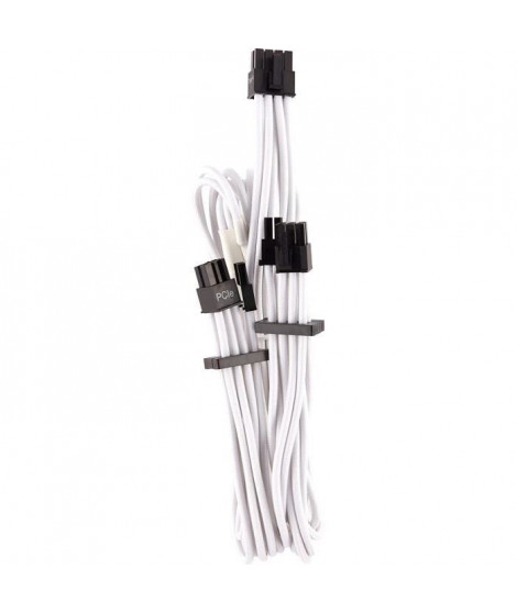 CORSAIR Premium Individually Sleeved Split PCIe cable (2 connectors), Type 4 (Generation 4), WHITE (CP-8920252)