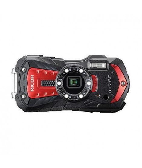 RICOH WG 60 Rouge - Appareil Photo Compact Etanche, Robuste et Leger - 3 modes de stabilisation - Zoom 5x grand-angle - 6 LED…