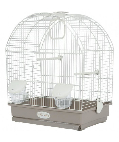 ZOLUX Cage Salomée pour oiseaux - L 40 x P 31 x H 48 cm - Gris taupe