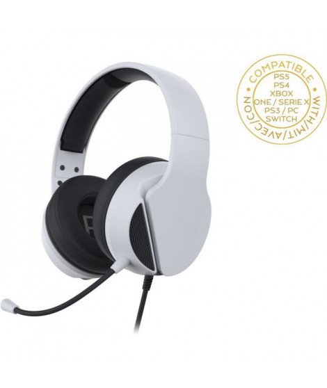 Subsonic - Casque Gaming Blanc avec micro pour PS5 - Compatible PS4/PS3/Xbox One et Xbox Series X/Switch/PC