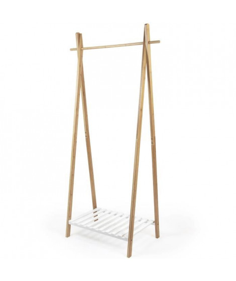 Portant NAGANO en bambou - Blanc et bois - L 80 x P 44 x H 160 cm