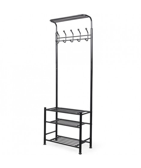 COMPACTOR Porte-manteau Welcome en métal - 66 x 30 x 191 cm - Noir