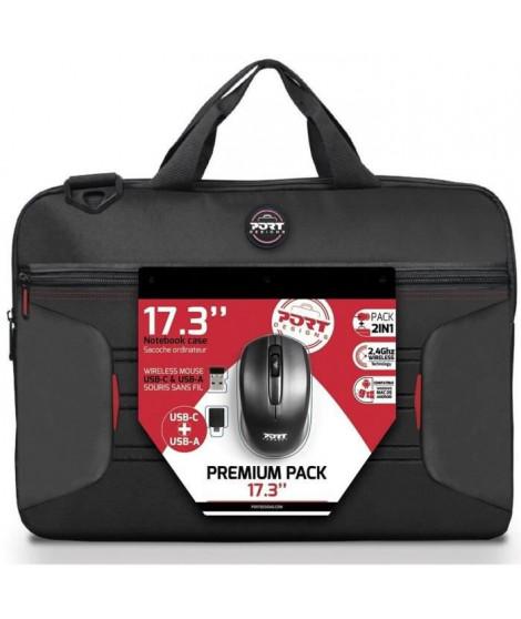PREMIUM PACK : Sacoche pour PC Portable 17 + Souris sans fil + Dungle USB & Adaptateur Type C