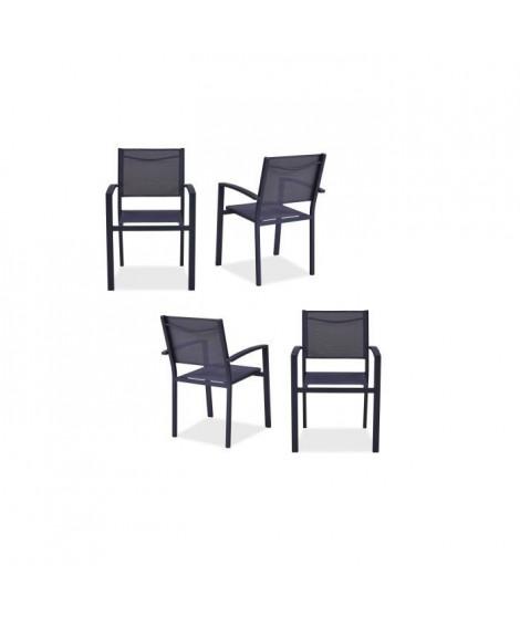 Lot de 4 fauteuils de jardin en aluminium assise textilene - 57 x 56 x 87 cm - Gris