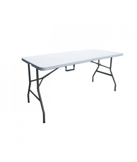 Table pliante - 150 cm - 6 personnes - Revetement en poudre en tubes d'acier