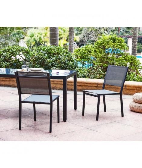 Lot de 2 chaises en aluminium - 48 x 56 x 87 cm - Gris