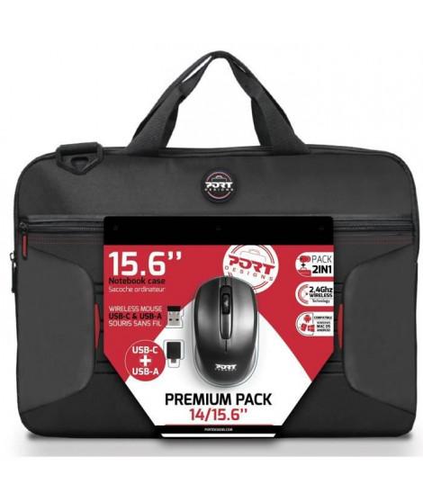 PREMIUM PACK : Sacoche pour PC Portable 15 + Souris sans fil + Dungle USB & Adaptateur Type C