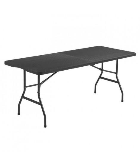 Table de reception pliante 8 personnes 180x74 x73.5cm-  Structure en acier et Plateau en Polyéthylene -  aspect résine tressé…