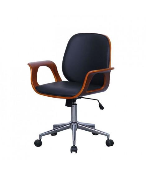 WOOD Chaise de bureau avec accoudoirs bois - L 57 x P 66,5 x H 87-95 cm