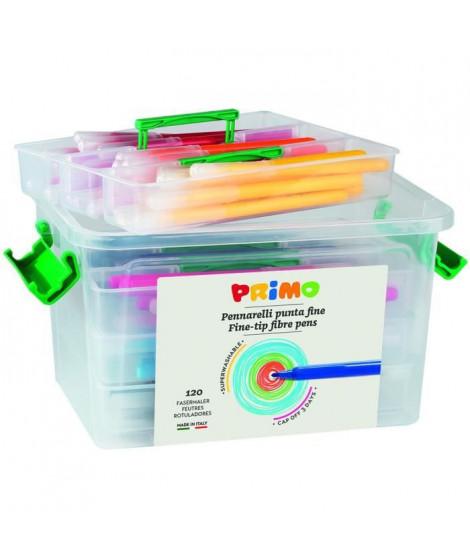 PRIMO 615PEN120 Feutres super-lavables, pointe fine, en mallette scolaire avec 4 compartiments, 120 pieces, 12 couleurs.