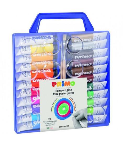 PRIMO 449T22VA Tube de gouache fine 12 ml, mallette avec couvercle/palette, 22 couleurs.