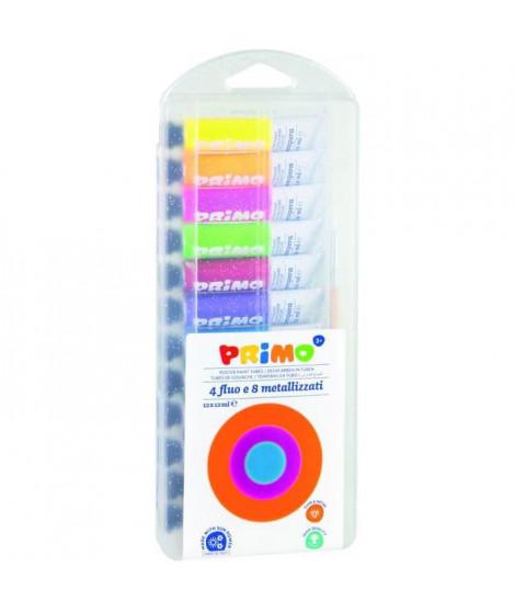 PRIMO 450T12FMP Tube de gouache spéciale 12 ml: 4 couleurs fluos et 8 couleurs métalliques.