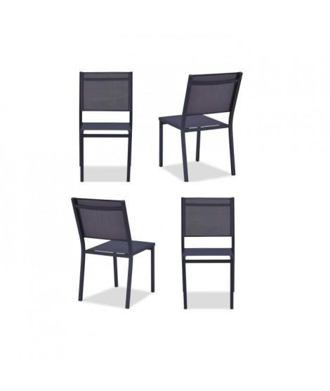 Lot de 4 chaises de jardin en aluminium assise textilene - 48 x 56 x 87 cm - Gris