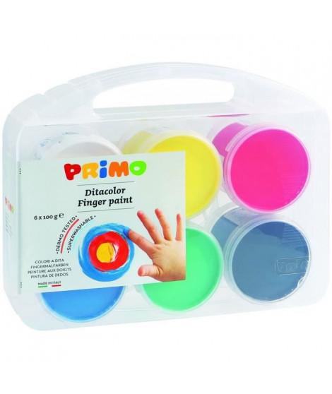 PRIMO 221TD100SP Gouache aux doigts en pot de 100 gr., mallette multifonction, 6 couleurs.