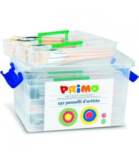 PRIMO 243PTQ192 Pinceaux différentes tailles avec manche en bois naturel, mallette avec compartiments, poile de pony et soie,…