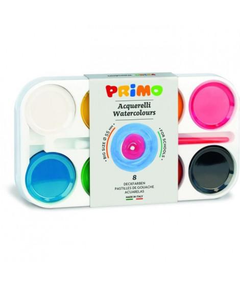 PRIMO 093A8T Pastilles de gouache, épaisseur 13 mm Ø 55 mm, boîte en plastique, 8 couleurs.