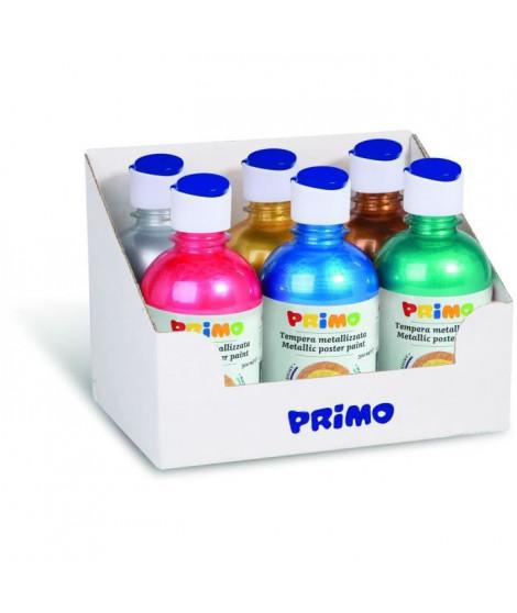 PRIMO 233TM6ASS Lot de gouache métallique, 6 flacons de 300 ml avec bouchon doseur.