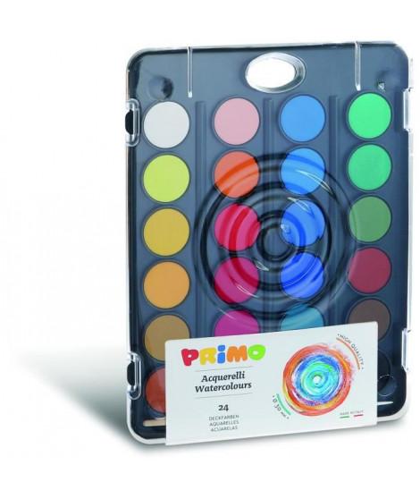PRIMO 127A24FN Pastilles de gouache Ø 30 mm avec couvercle/palette, 12 couleurs.