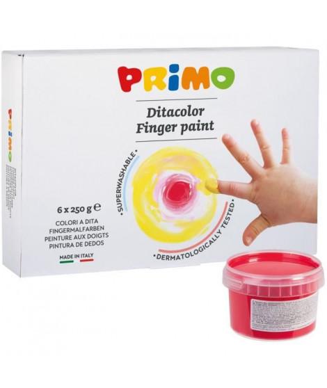 PRIMO 222TD6G Gouache aux doigts en pot de 250 gr., 6 couleurs.