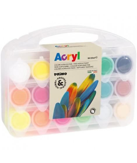 PRIMO 416TB18ASP Set de peinture acrylique fine en pot de 25 ml. Mallette multifonction contenant 12 couleurs normals, 4 fluo…