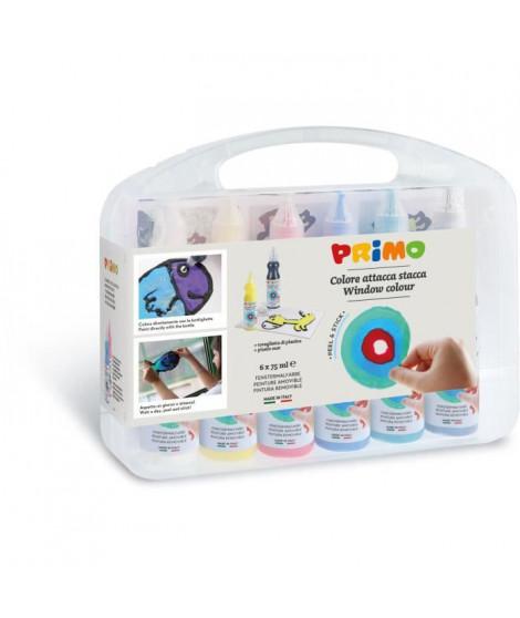 PRIMO 651W6SP Peinture amovible, flacon de 75 ml avec bouchon doseur, 6 couleurs. Mallette multifonction avec 1 feuille trans…