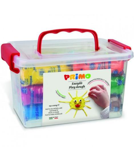 PRIMO 298ED24GF Bâtonnet de pâte a jouer  jouer sans gluten, en mallette de 24, 6 couleurs.