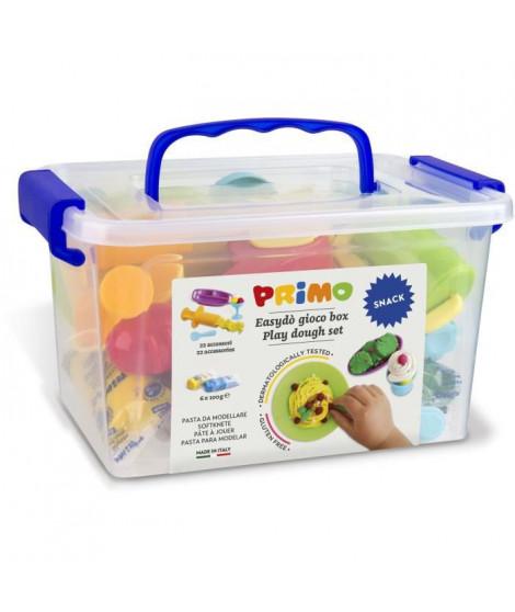 """PRIMO 288BARGF Kit de pâte a jouer  jouer sans gluten, mallette contenant 6 bâtonnets et 16 accessoires """"snack bar""""."""