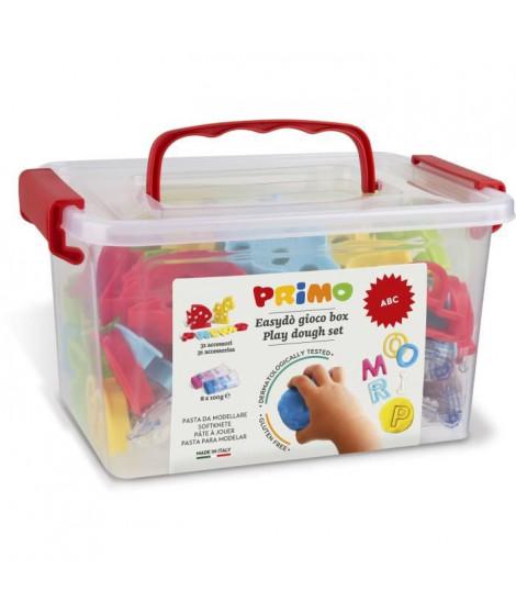 """PRIMO 289ABCGF Kit de pâte a jouer  jouer sans gluten, mallette contenant 8 bâtonnets et 32 accessoires """"alphabet""""."""