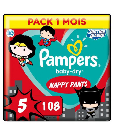 PAMPERS Couches-culottes Baby-Dry Pants Taille5 - 27culottes - Pack 1 Mois