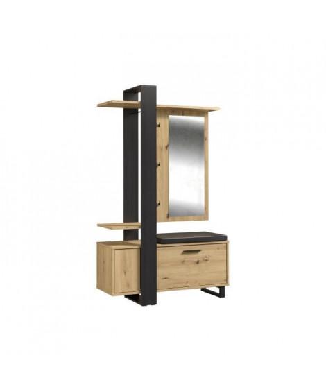Vestiaire avec miroir + banc simili + 1 abattant - Décor chene et noir - L 119,8 x P 43 x H 198,2 cm - MARACAY