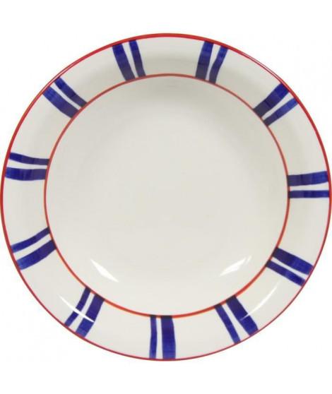 NOVASTYL Basque 8023225 Lot 6 Assiettes creuses 20,5cm - Bleu - Faience