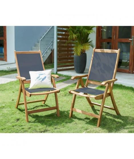 Lot de 2 fauteuils en bois d'acacia FSC et textilene - Gris