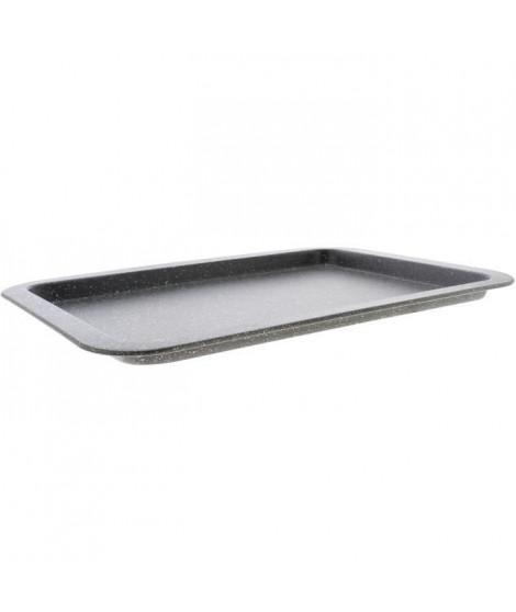 THEKITCHENETTE 6020795 - Plaque a four 38x27cm en acier carbone effet pierre - Revetement anti-adhésif