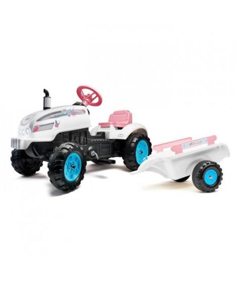 FALK - Tracteur a pédales Butterfly Farmer avec capot ouvrant et remorque inclus