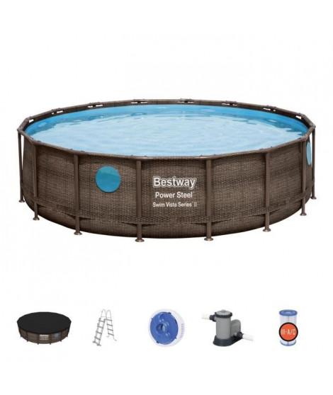 BESTWAY Piscine hors sol ronde Power Steel SwimVista avec hublots - Effet rotin - 488 x 122 cm