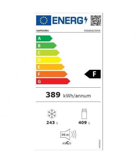 Samsung RS66A8100S9 - Réfrigérateur Side by Side - 647L (411+236) - Froid ventilé plus - /F - 91x178cm - Silver