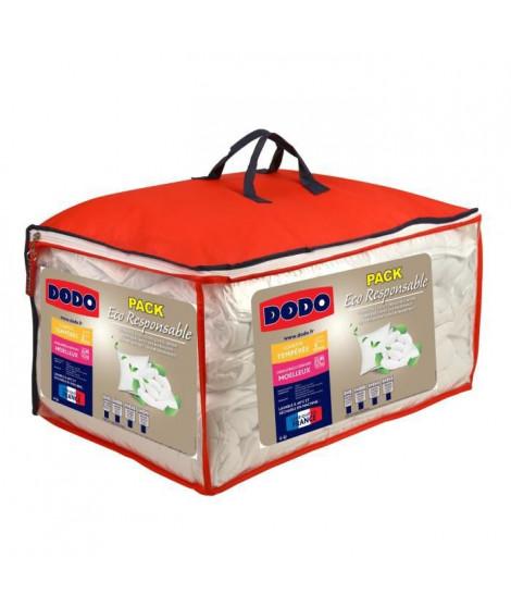 DODO Pack ECO RESPONSABLE - 1 couette 240x260cm + 2 oreillers 60x60cm blanc