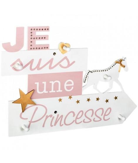 Patere pancarte 5 crochet Je suis une princesse - Blanc et rose